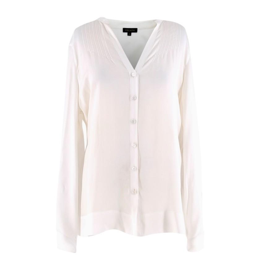 Escada Cream Silk Long sleeve Blouse