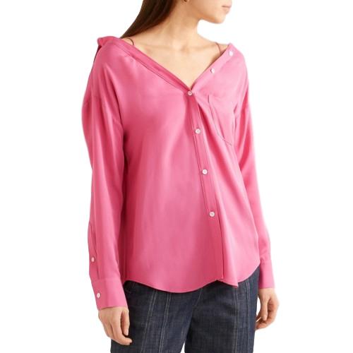 5e0fd585675ea Theory Hot Pink Silk Tamalee Shirt