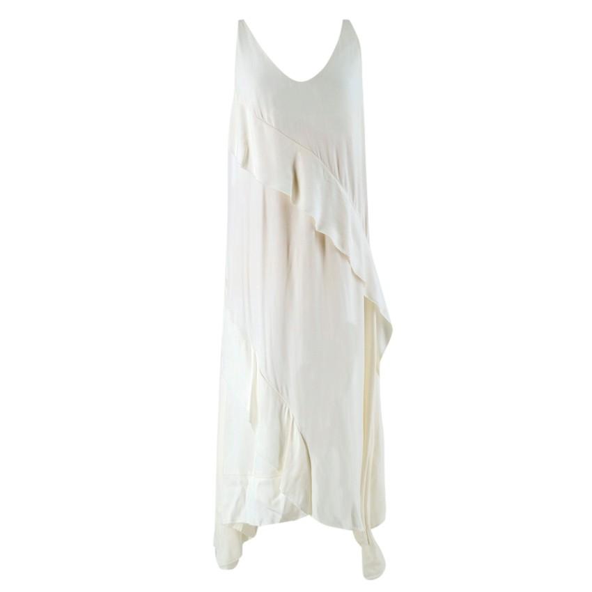 Cedric Charlier White Ruffled Midi Dress