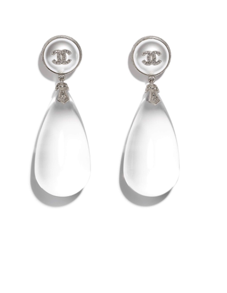 Chanel onyx & glass earrings