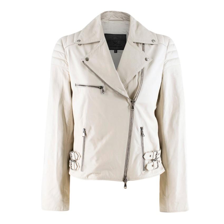 42fe0e4baf2b8 Mcq Alexander Mcqueen White Leather Biker Jacket | HEWI London