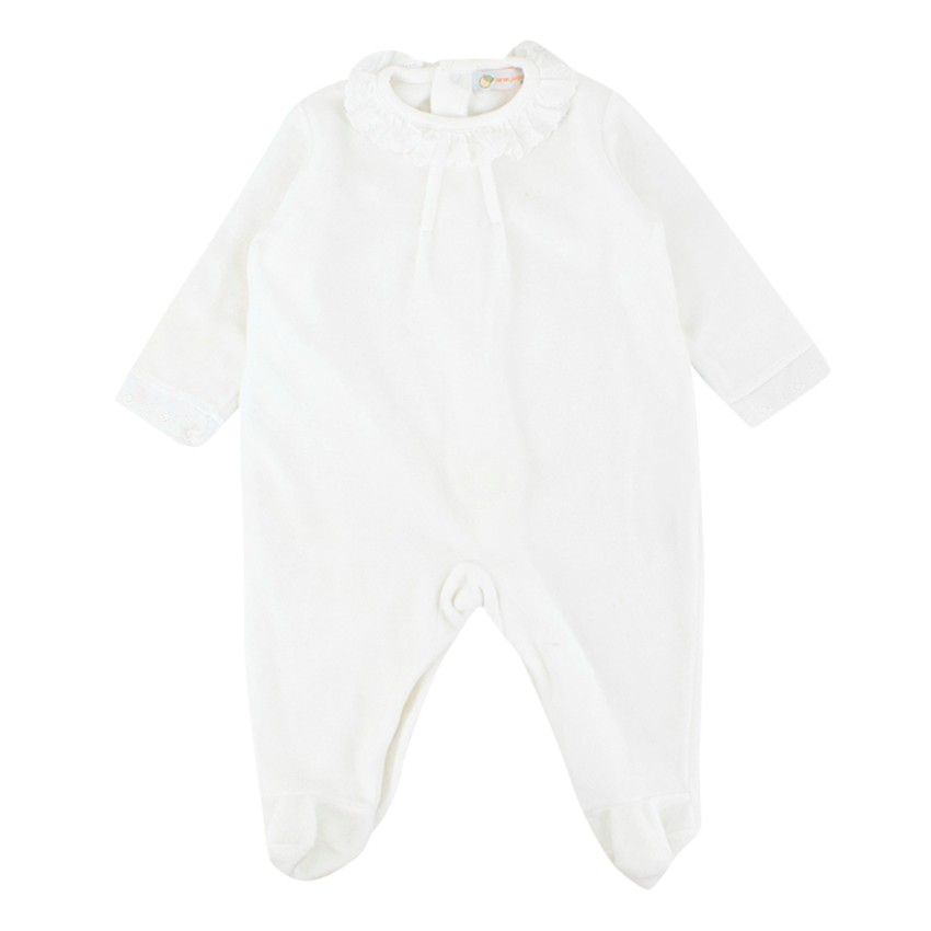 Lar an Jinhan 3-months White Velour Baby Grow