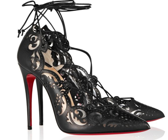 best sneakers a42b8 ba1ab Christian Louboutin Impera laser-cut leather and PVC pumps