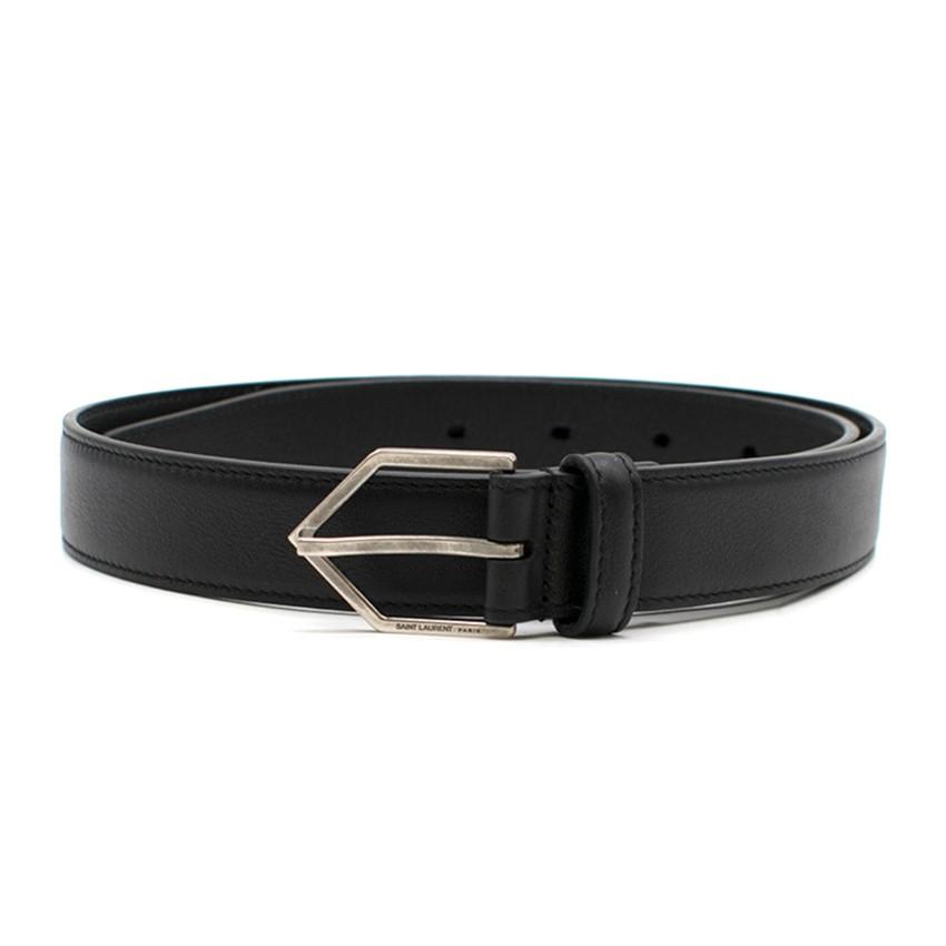 Saint Laurent Black Triangle Buckle Leather Belt