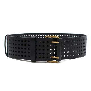 Yves Saint Laurent Black Perforated Leather Belt