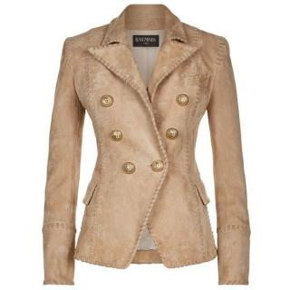 Balmain Suede Double Breasted Jacket
