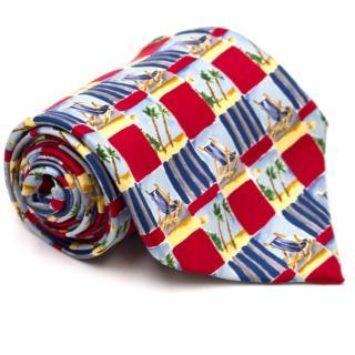 Dunhill Beach Themed Print Silk Tie