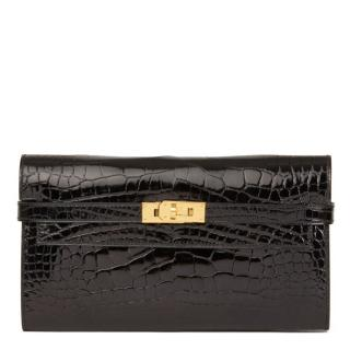 Hermes Shiny Mississippiensis Alligator Black Long Kelly Wallet