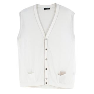 Stefano Ricci White Eyelet-Knit Sleeveless Cardigan