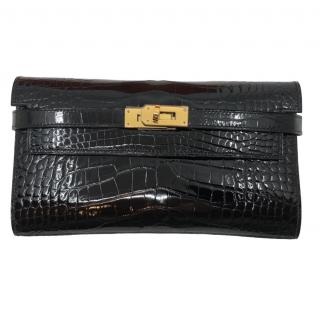 Hermes Shiny Black Alligator Kelly Wallet