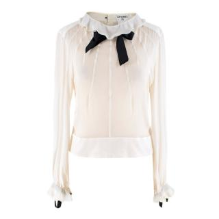 Chanel Cream Silk-Chiffon Blouse