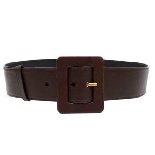 Yves Saint Laurent Brown Wide Leather Belt