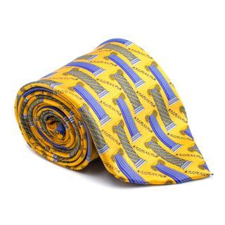 Galmani Yellow and Blue Pillar Pattern Silk Tie