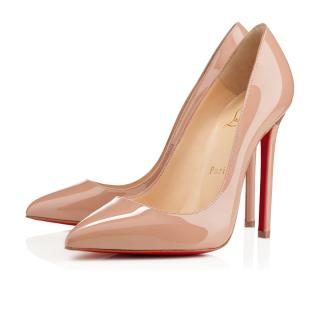 Christian Louboutin Pigalle 100mm Nude Patent Leather Pumps
