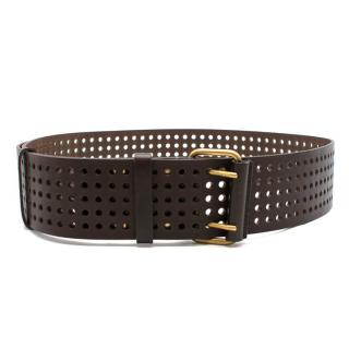 Yves Saint Laurent Brown Perforated-Leather Waist Belt