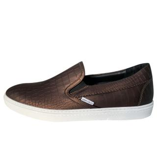 Jimmy Choo Grove Crocodile-Effect Slip-On Trainers