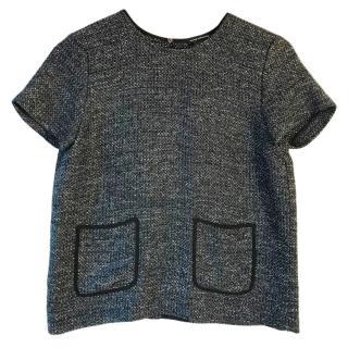 Club Monaco navy, black & white metallic fleck short sleeve blouse
