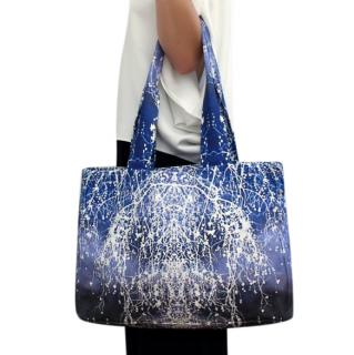 Maria Grachvogel Snow Pearl hand painted blue & white cotton tote bag