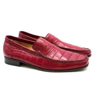 Stefano Ricci Red Croc Leather Loafers