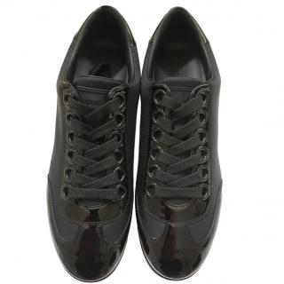 Louis Vuitton black patent trainers