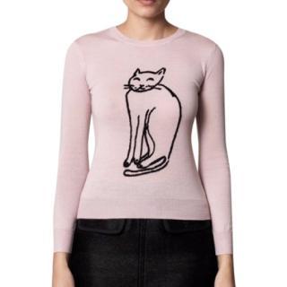 Issa London Pink Cat Wool Knit Sweater
