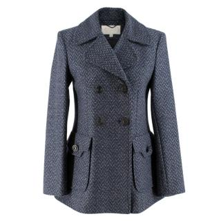 Goat Navy Blue Double Breasted Wool Coat