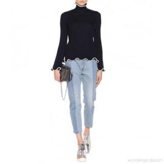 Stella McCartney Fluted-Hem Navy Ribbed Sweater
