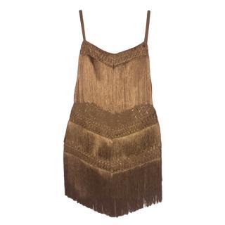 Elisabetta Franchi Gold Fringed Dress