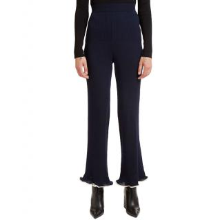 Stella McCartney Fluted-Hem Navy Ribbed Trousers