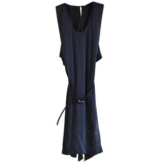 Stella McCartney belted navy silk dress