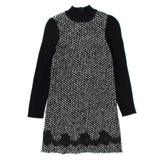 Dolce & Gabbana Girls' Black and White Tweed Knit Dress
