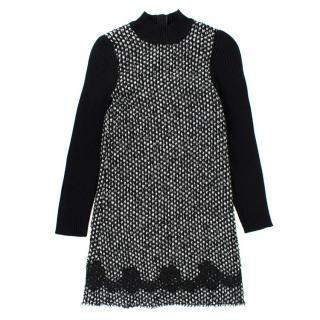 Dolce & Gabbana Girls' Black and White Tweed Knit Dress