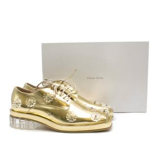 Simone Rocha Embellished Metallic Gold Brogues
