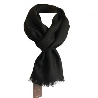 Gucci Black Wool & Silk Scarf