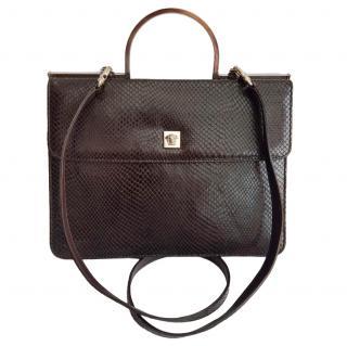 Gianni Versace Vintage Brown Python Embossed Leather Shoulder Bag