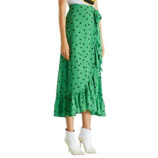 Ganni Dainty Polka-Dot Georgette Green Wrap Skirt