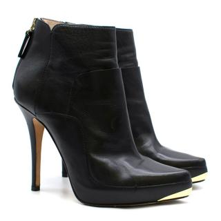 Escada Black Leather High Heeled Ankle Boots