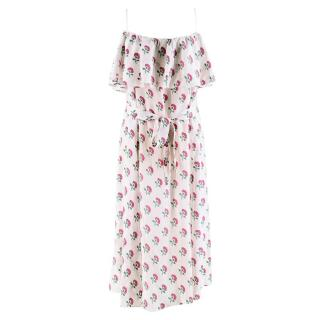 Beulah Floral Ruffled Silk Dress