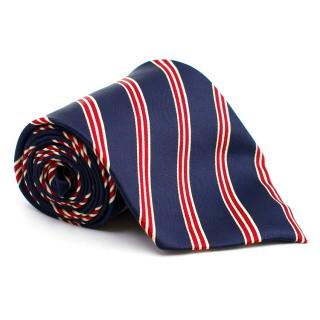 Rene Chagal Red and Blue Stripe Print Tie