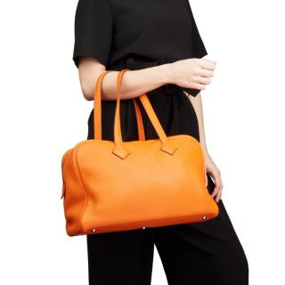 Hermes Orange H Clemence Leather Victoria II 35