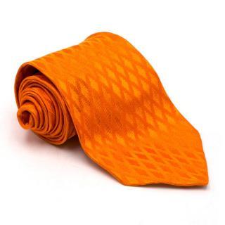 Barneys New York Bright Orange Textured Silk Tie