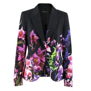 Escada Floral Print Black Blazer