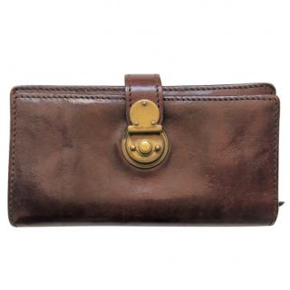 Ralph Lauren leather wallet with gold turnlock case clasp