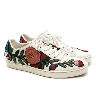 Gucci Ace Floral Embroidered Leather Sneakers