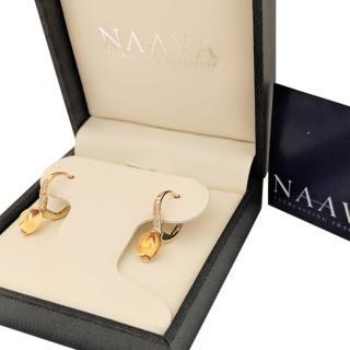 Naava 3.00ct Citrine & Diamond Drop Earrings