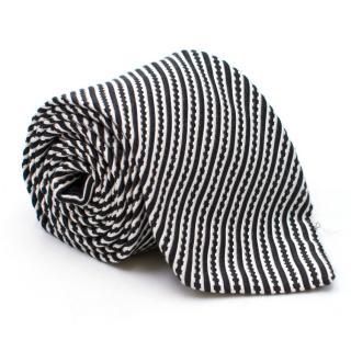 Hugo Boss Baldessarini Black and White Striped Silk Tie