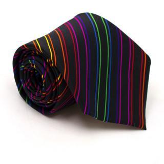 Taggs Black with Multi Colored Striped Silk Tie