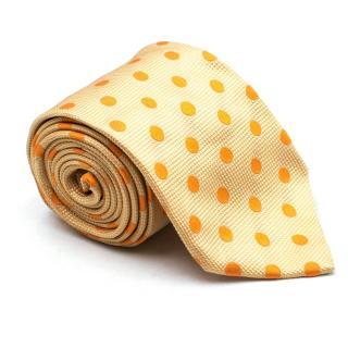 Henry Cottons Yellow Polka-Dot Print Silk Tie