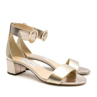 Jimmy Choo Gold Jamie 40 Sandals