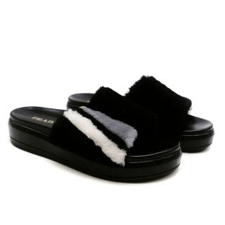 Prada Black Shearling Fur Platform Slide Sandals